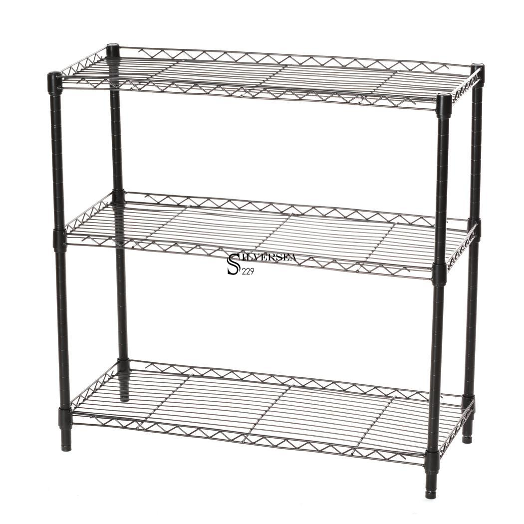 New Black Storage Rack 3-Tier Organizer Kitchen Shelving