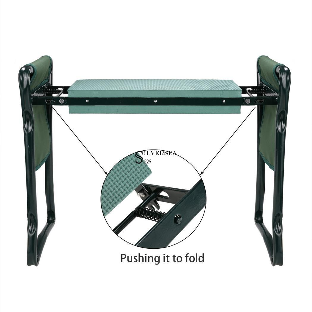Folding garden kneeler seat bench stool w kneeling pad for Gardening kneeling stool