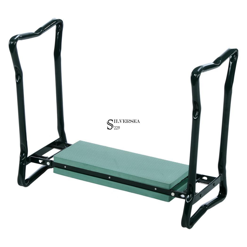 Folding Garden Kneeler Seat Bench Stool W Kneeling Pad Cushion 2 Tool Pouches
